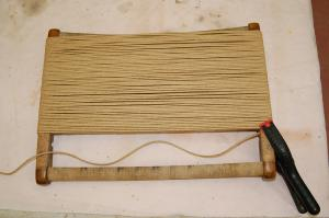 Danish Cord - first step of the weaving process is to wrap horizontally